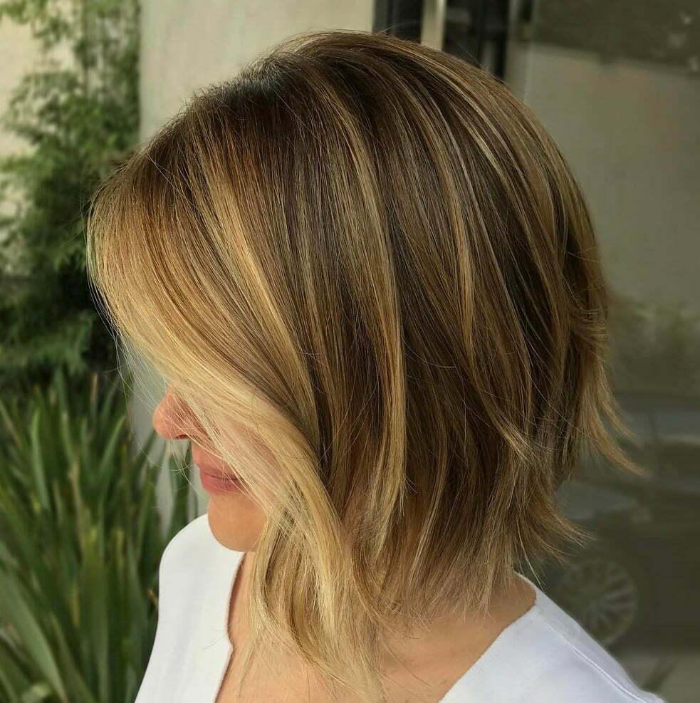 Shaggy A-Line Bob Haircut With Highlights