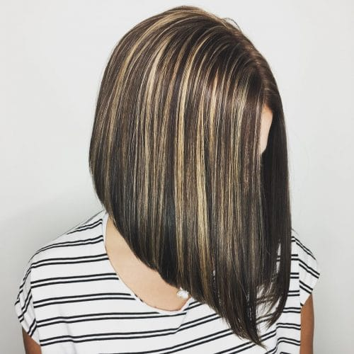 Nicely Stacked Angled Bob With Blonde Highlights