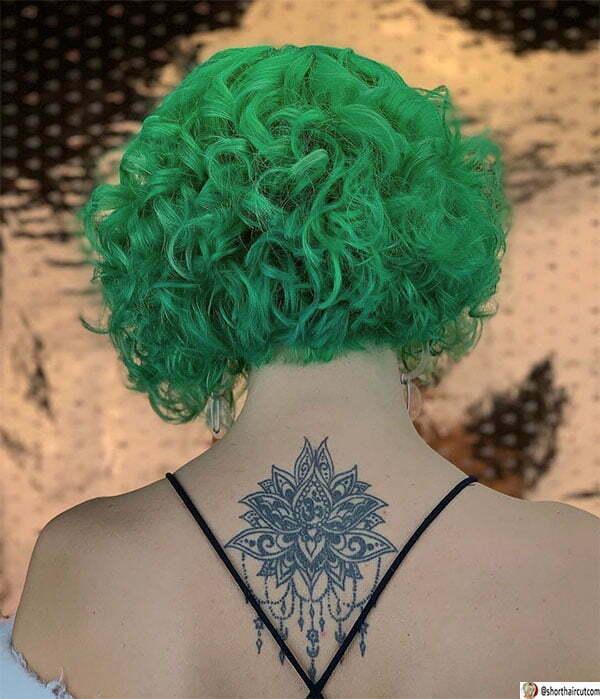 beautiful green hair woman