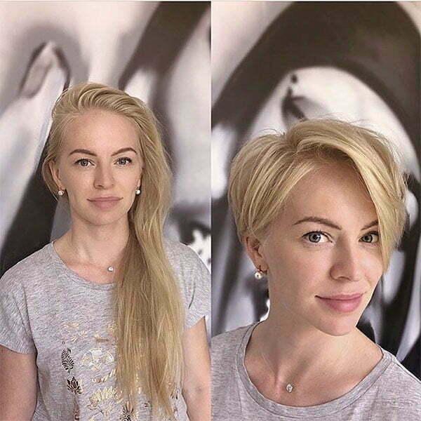 blonde woman short hair