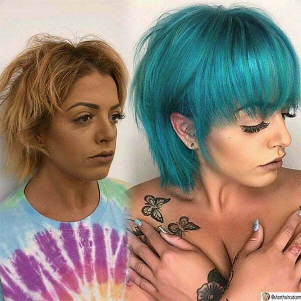 blue hair cut