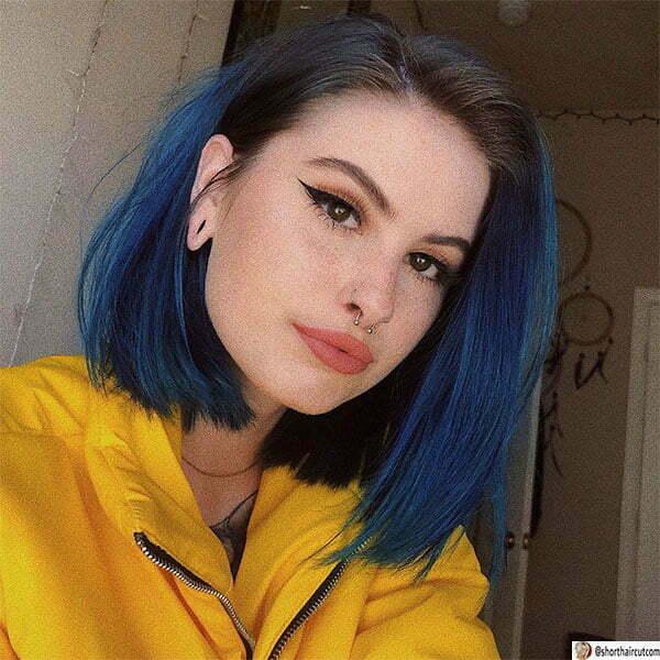 blue hair short hair