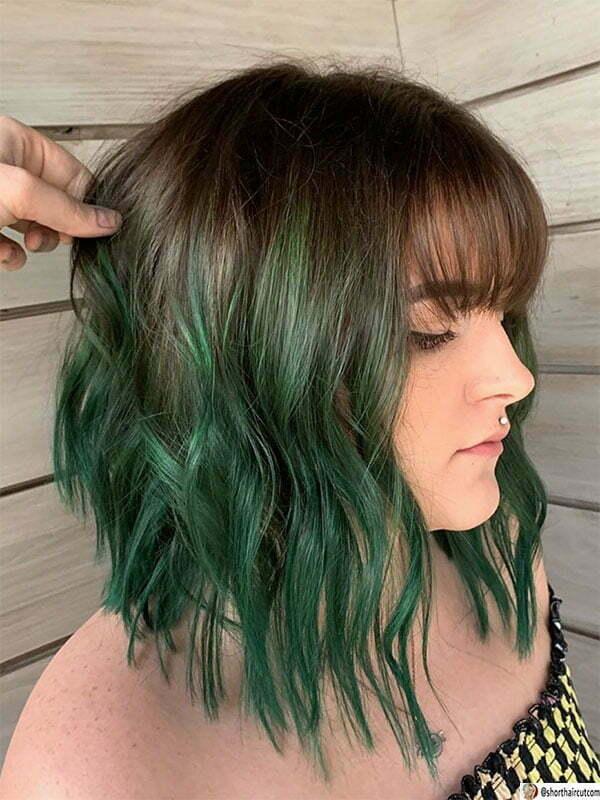 cute green hairstyles
