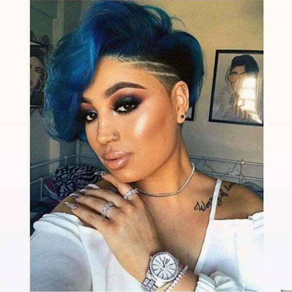 cute haircuts for blue hair