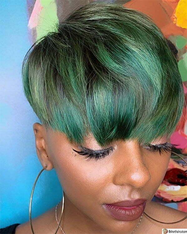 cute haircuts for green hair