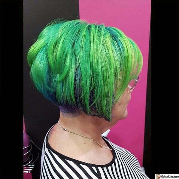 cute short hair green
