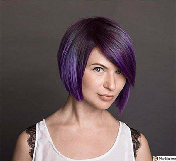 cute short hair purple