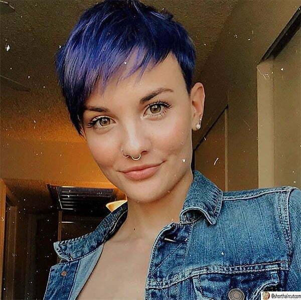 cute short haircuts blue