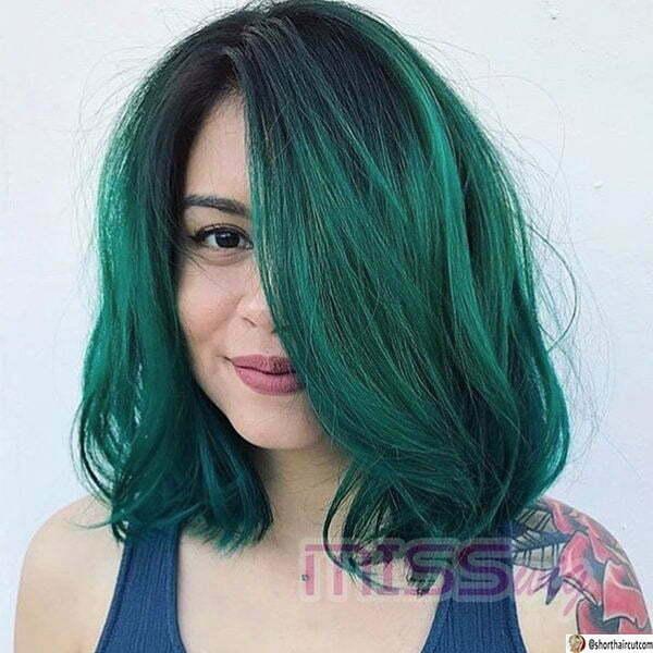green women's hair
