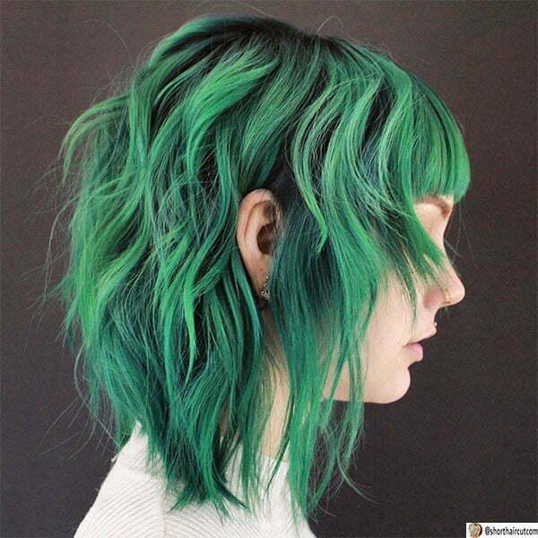 hair color ideas for short green hair
