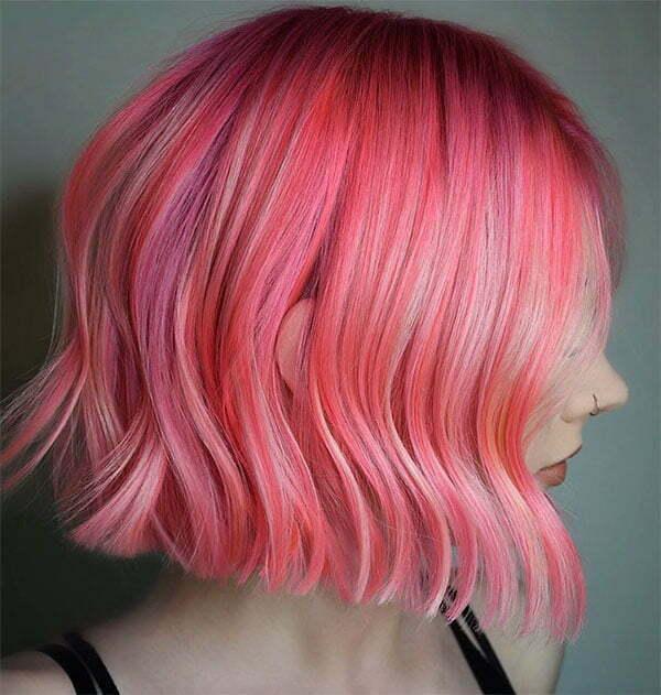 hair pink short