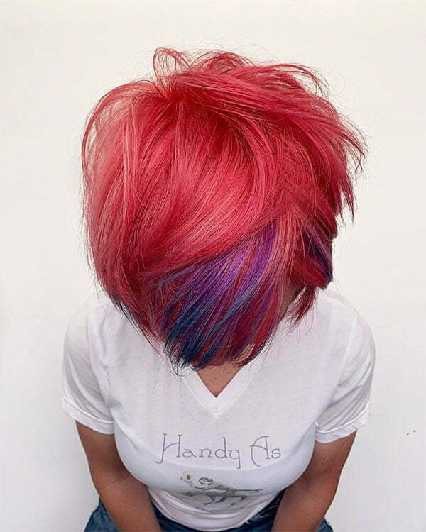 hot short pink hairstyles