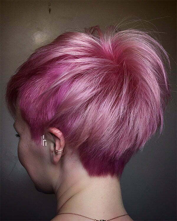 pink hair cut