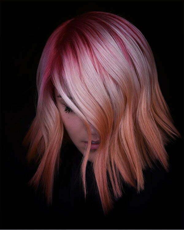 pink hair short cut