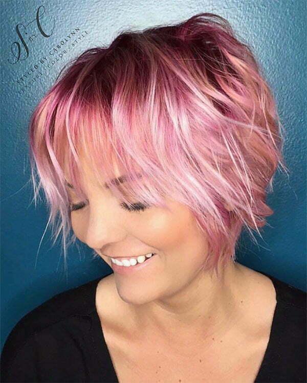 pink hair short cuts