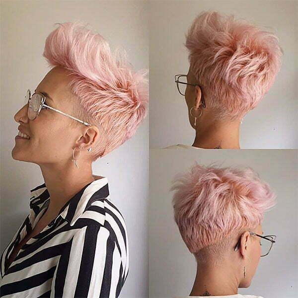 pink hair short haircuts