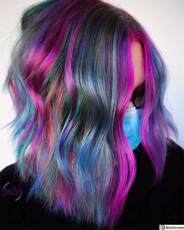 purple hair cut