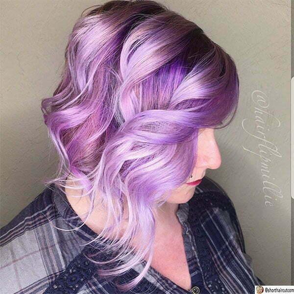 purple hair cut images