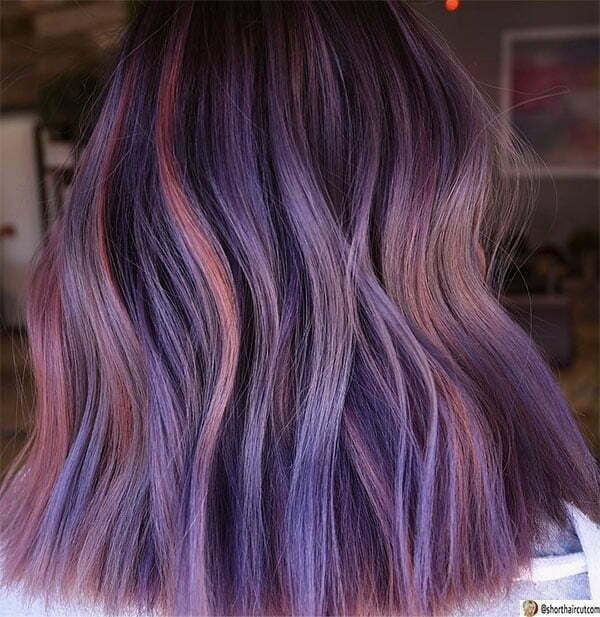 purple hair cut short