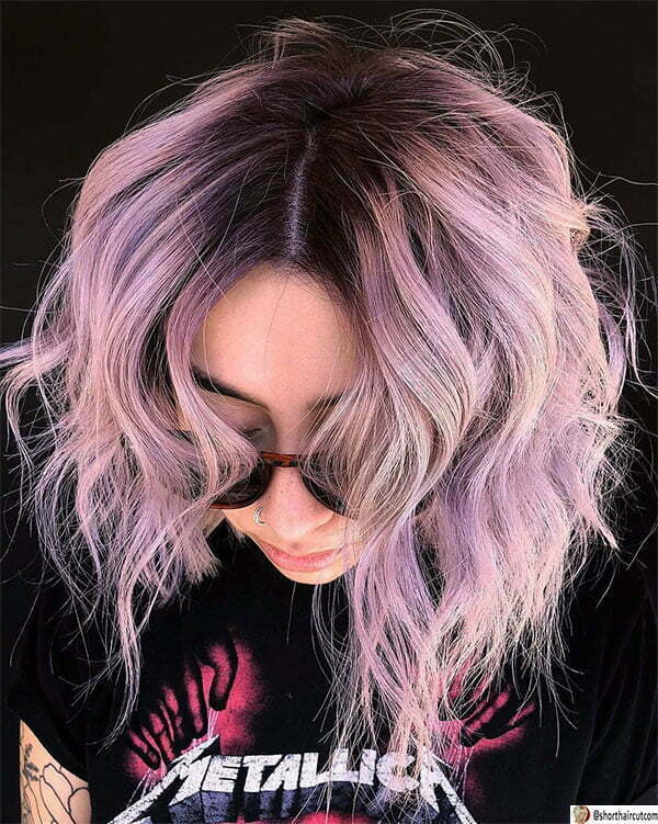 purple hair cuts short