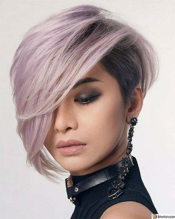 purple short hair cut