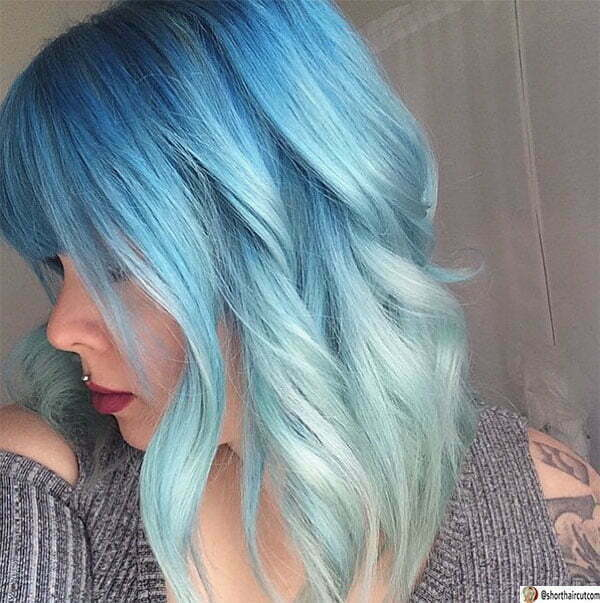 short and blue hair