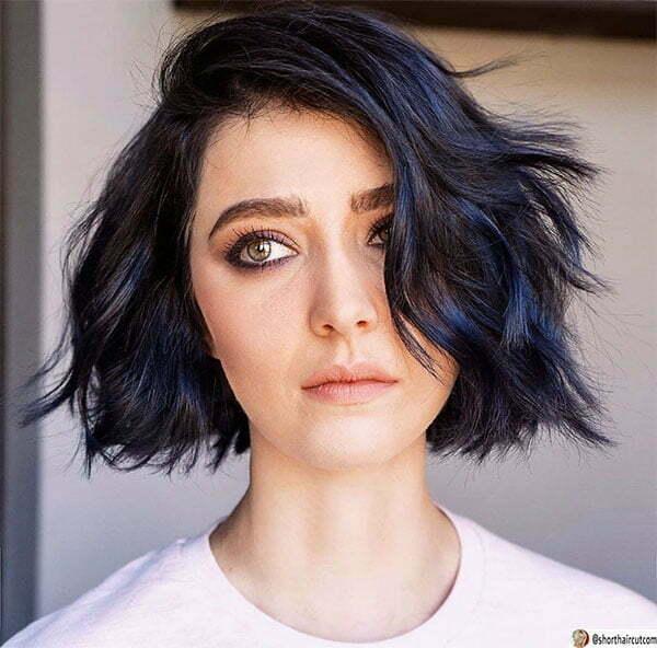short blue hair female