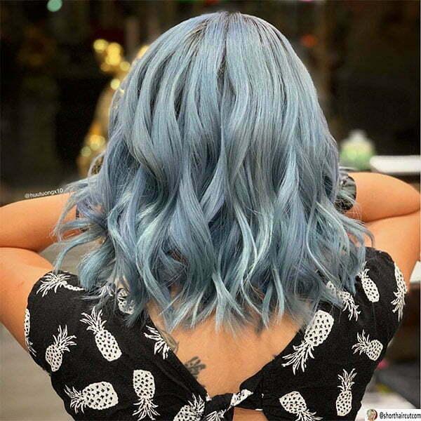 short blue hair woman