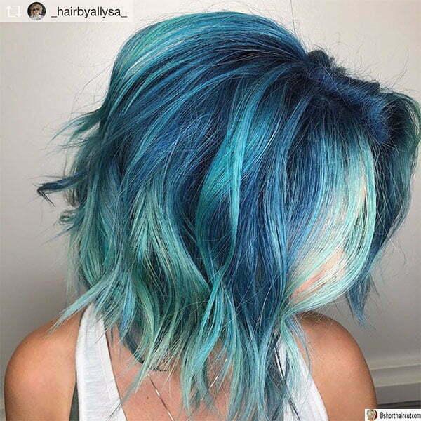 short blue hair women