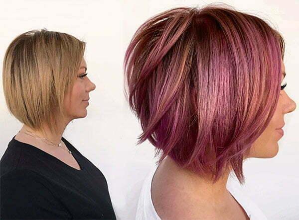 short cut pink hair