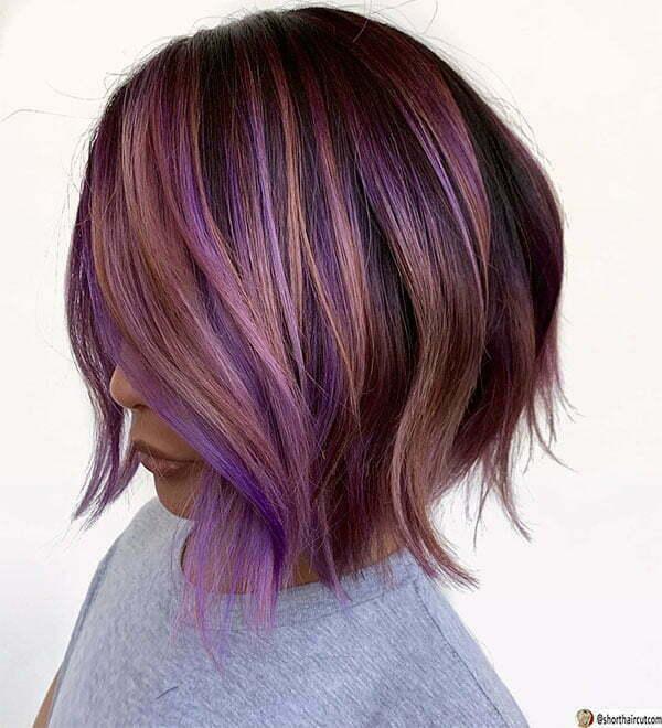 short cut purple hairstyles