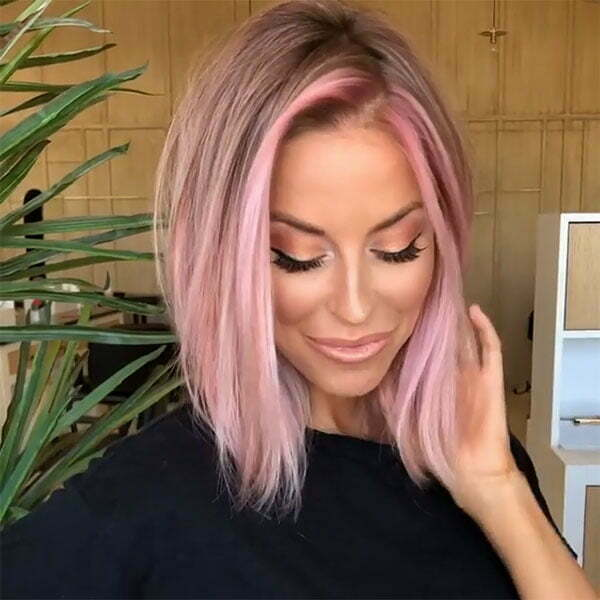 short hair pink color