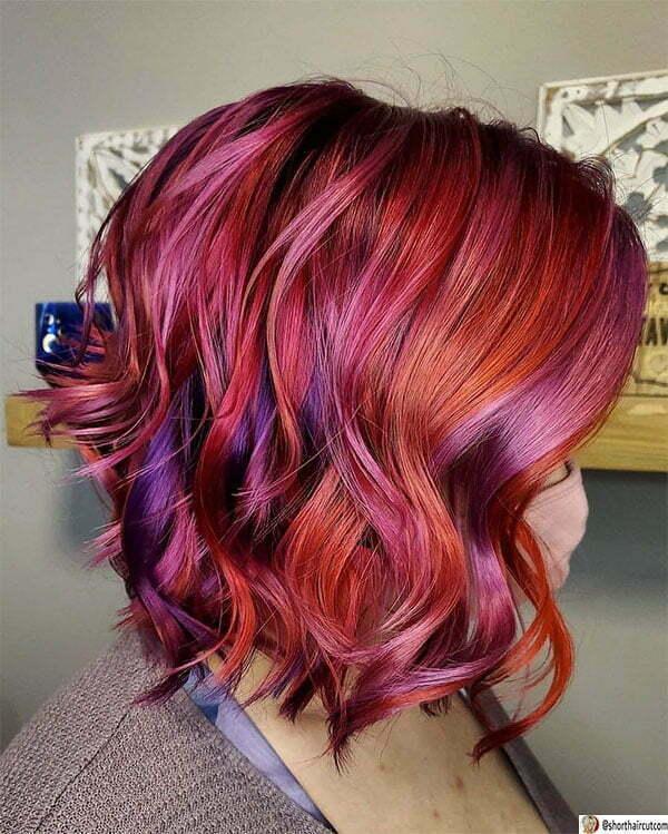 short hair purple color