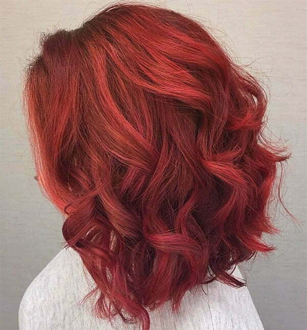 short hair with red