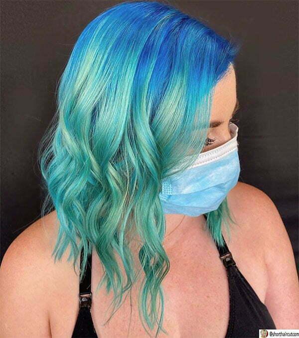 short hair women blue