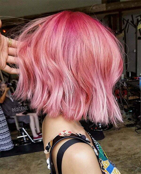 short pink hair women