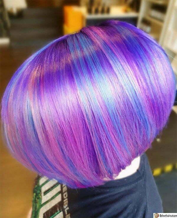 short purple hair cut
