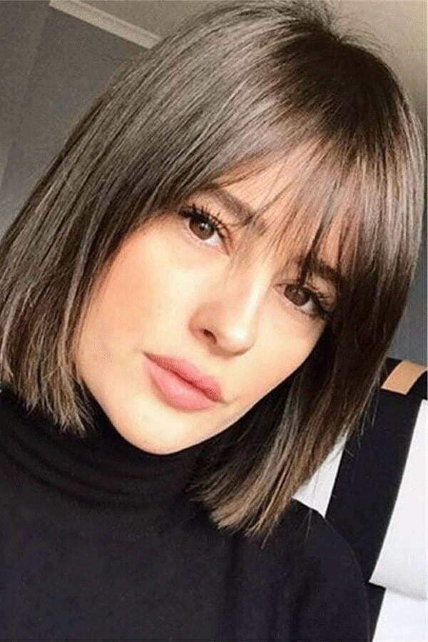 straight cut hairstyle