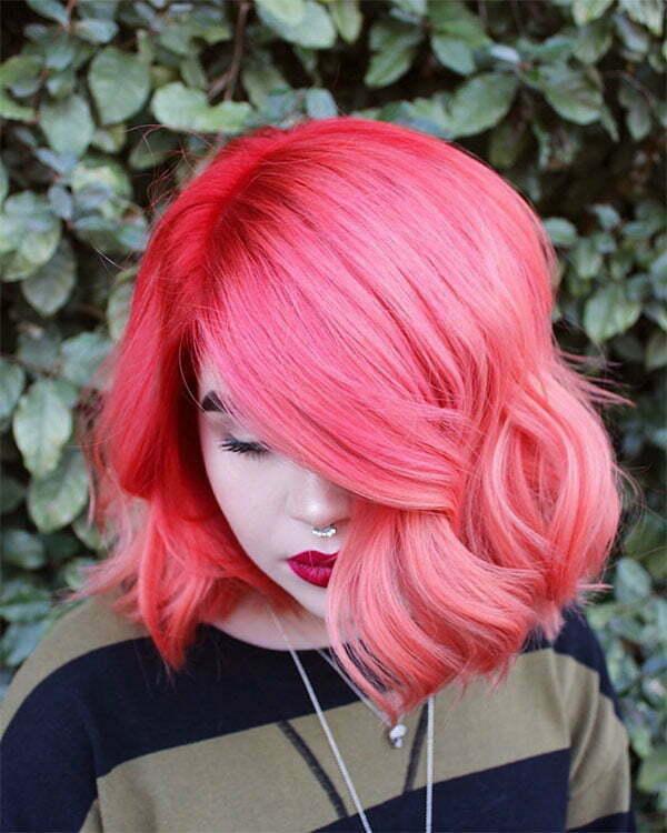 super short pink hair