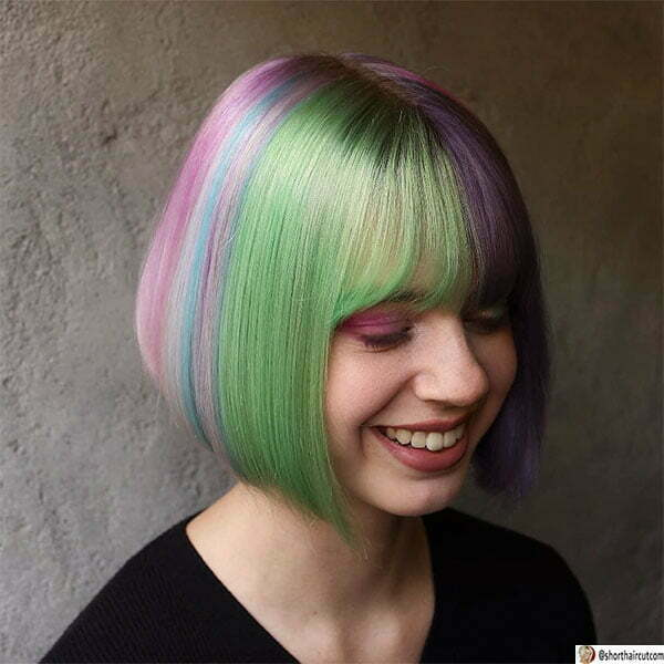 woman with short green hair